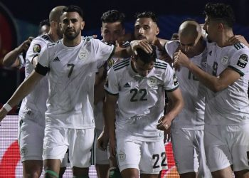 Algeria celebrate after scoring in one of their group matches Photo: goal.com