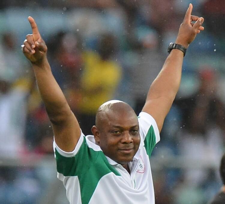 Stephen Okechukwu Keshi celebrates. Photo Credit: Bellanaija.com