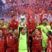 BUDAPEST, HUNGARY - SEPTEMBER 24: Manuel Neuer of Bayern Munich lifts the UEFA Super Cup trophy as he celebrates victory over FC Sevilla at Puskas Arena on September 24, 2020 in Budapest, Hungary. 20,000 fans have been allowed into the ground as COVID-19 restrictions ease. (Photo by Attila Kisbenedek - Pool/Getty Images)