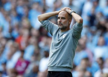Soccer Football - Premier League - Manchester City v Southampton - Etihad Stadium, Manchester, Britain - September 18, 2021 Manchester City manager Pep Guardiola reacts after Raheem Sterling scored their first goal that was later disallowed REUTERS/Phil Noble